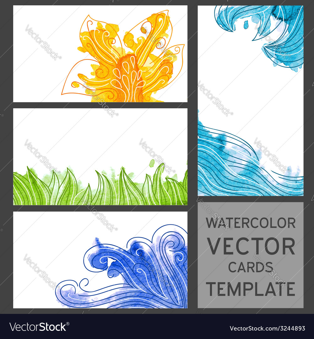 Set of grunge watercolor visit cards vector | Price: 1 Credit (USD $1)