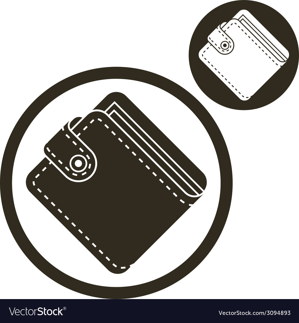 Wallet simple single color icon isolated on white vector | Price: 1 Credit (USD $1)
