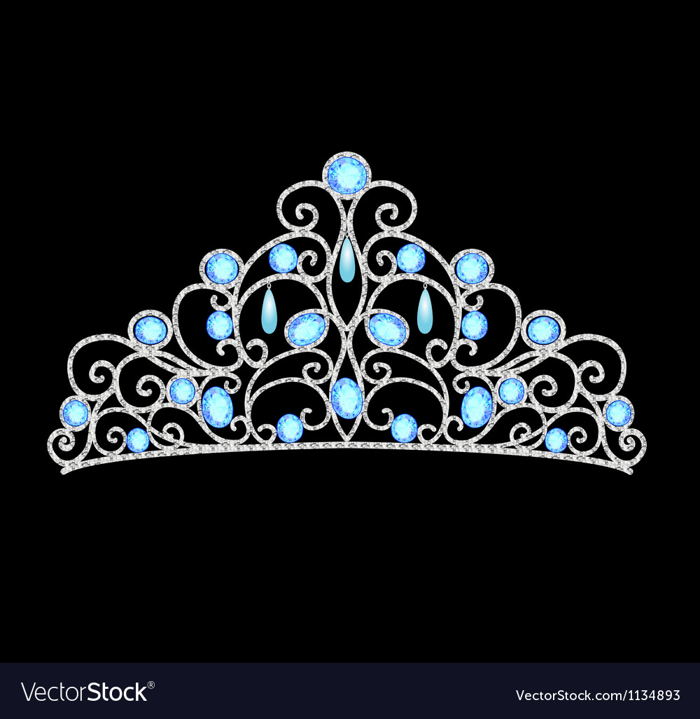 Womens tiara crown wedding with blue stones and pe vector | Price: 1 Credit (USD $1)