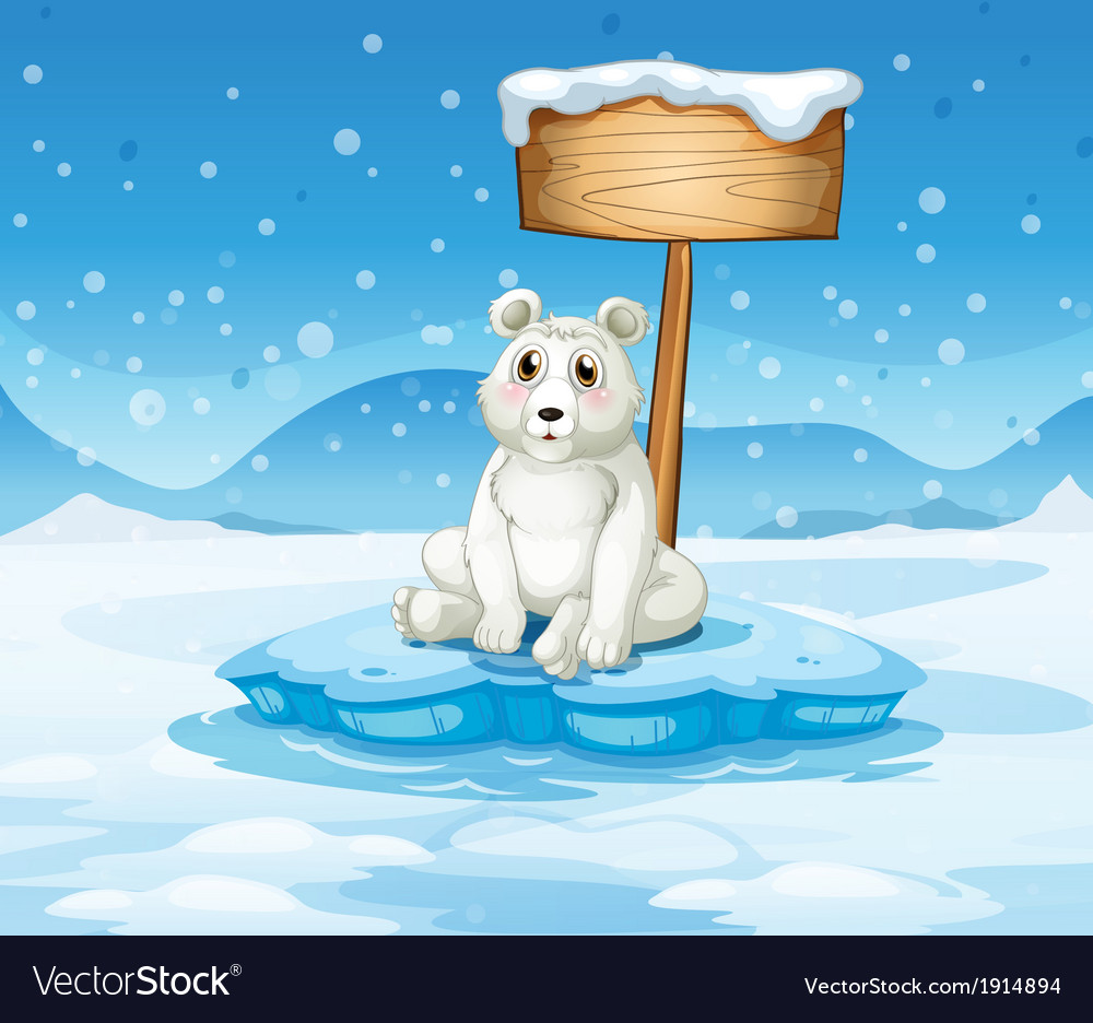 A polar bear sitting under the empty wooden vector | Price: 3 Credit (USD $3)