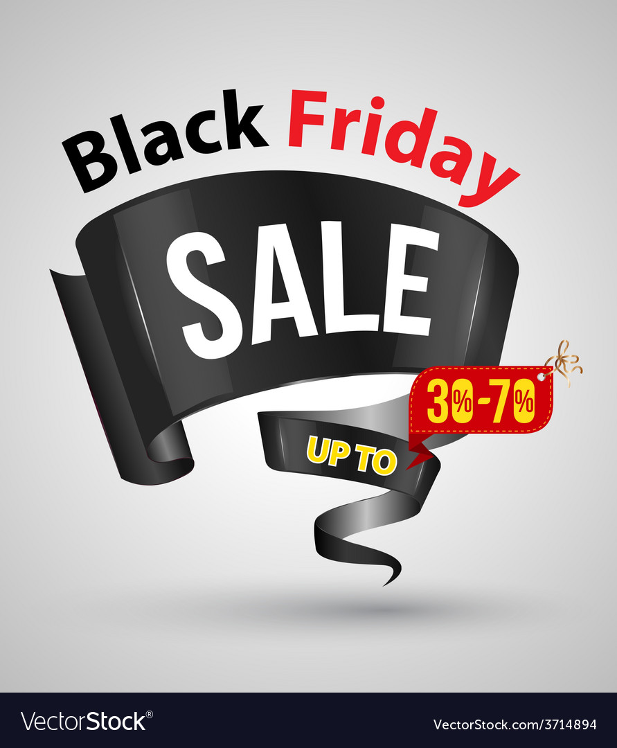 Black friday sale banner ribbon style vector | Price: 1 Credit (USD $1)
