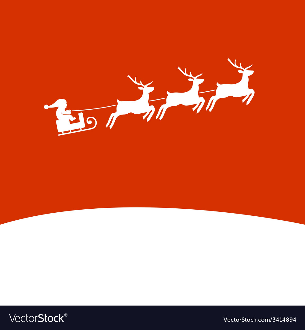 Christmas background with santa and deers vector | Price: 1 Credit (USD $1)