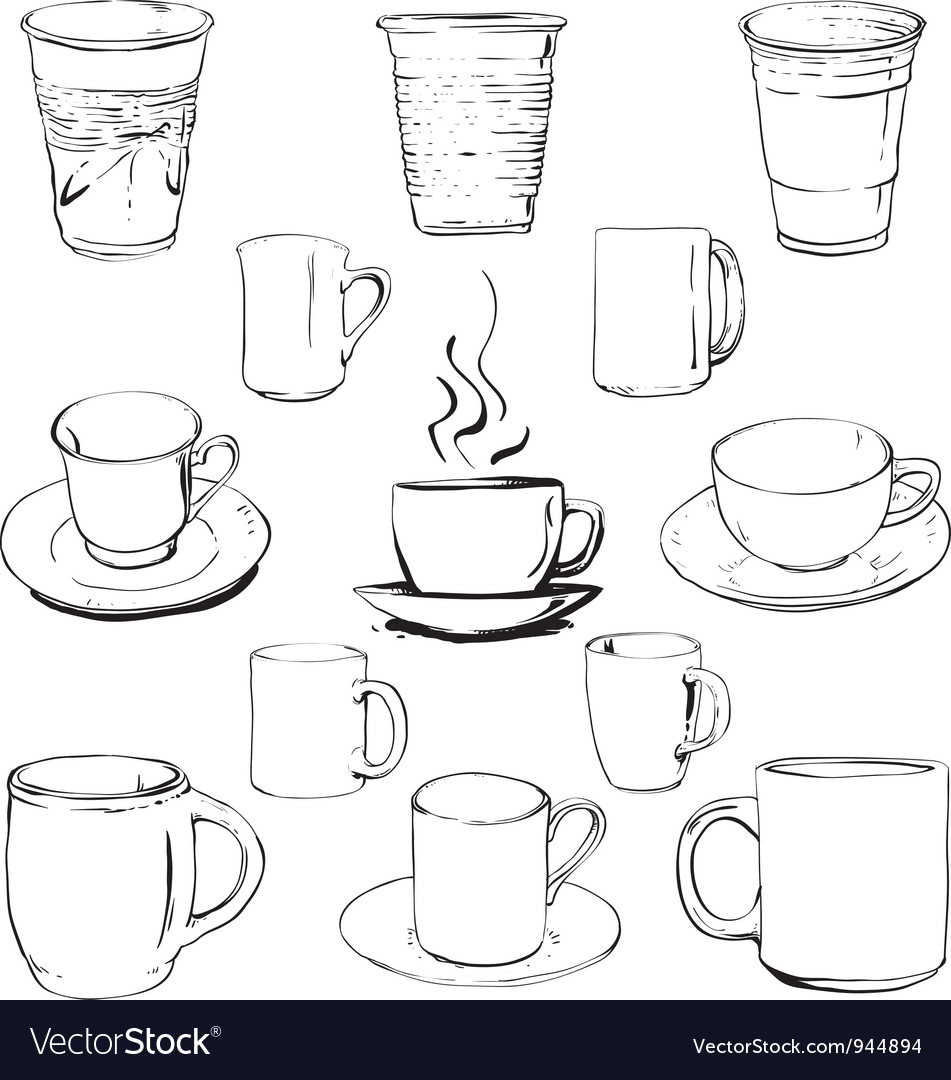 Cups set vector | Price: 1 Credit (USD $1)