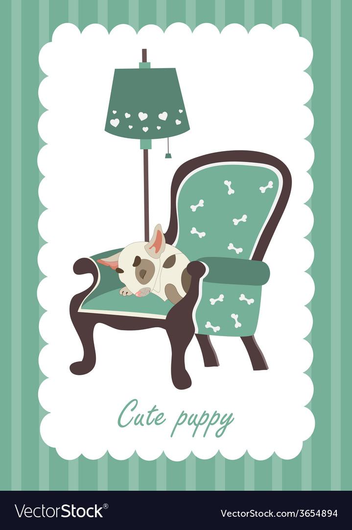 Cute dog sleeping in armchair vector | Price: 1 Credit (USD $1)