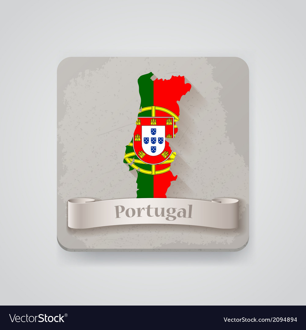 Icon of portugal map with flag vector | Price: 1 Credit (USD $1)