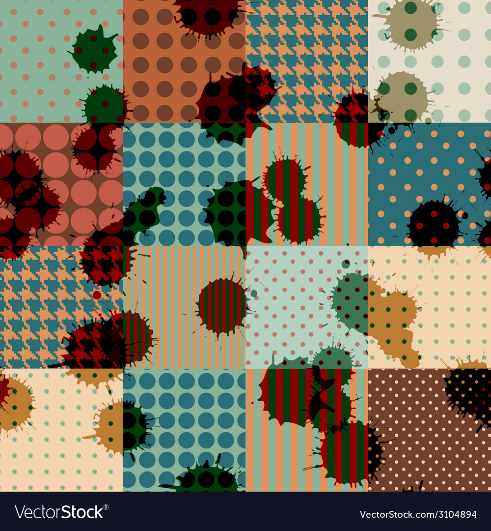 Retro patchwork with blombs vector | Price: 1 Credit (USD $1)