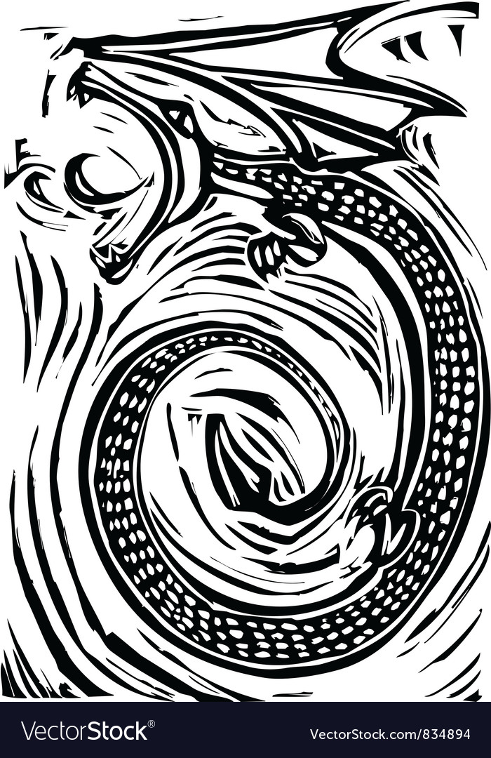 Woodcut dragon vector | Price: 1 Credit (USD $1)