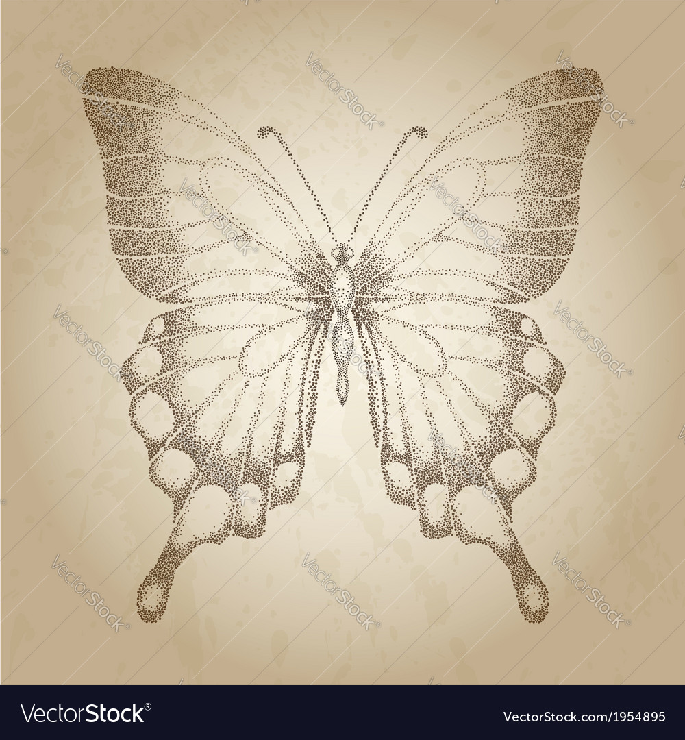 Butterfly painted in graphic style points vector | Price: 1 Credit (USD $1)