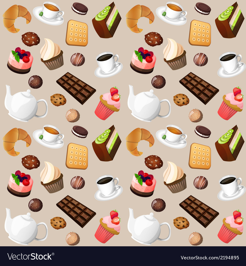 Coffee and sweets seamless background vector | Price: 1 Credit (USD $1)