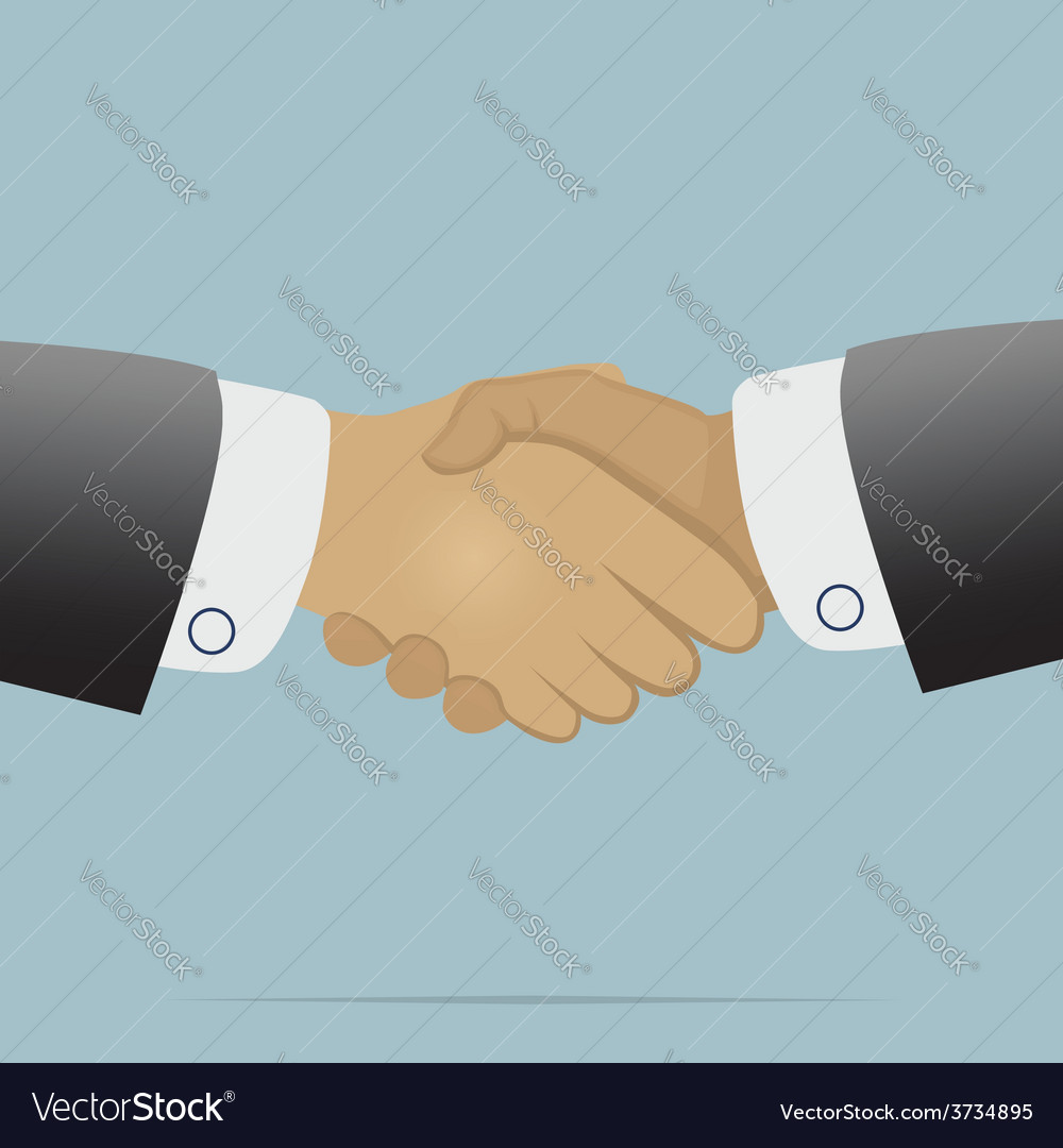 Handshake on light blue background vector | Price: 1 Credit (USD $1)