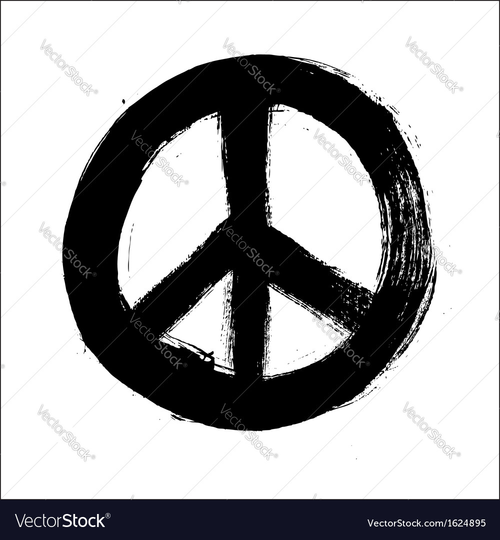 Isolated hand drawn peace symbol brush style vector | Price: 1 Credit (USD $1)