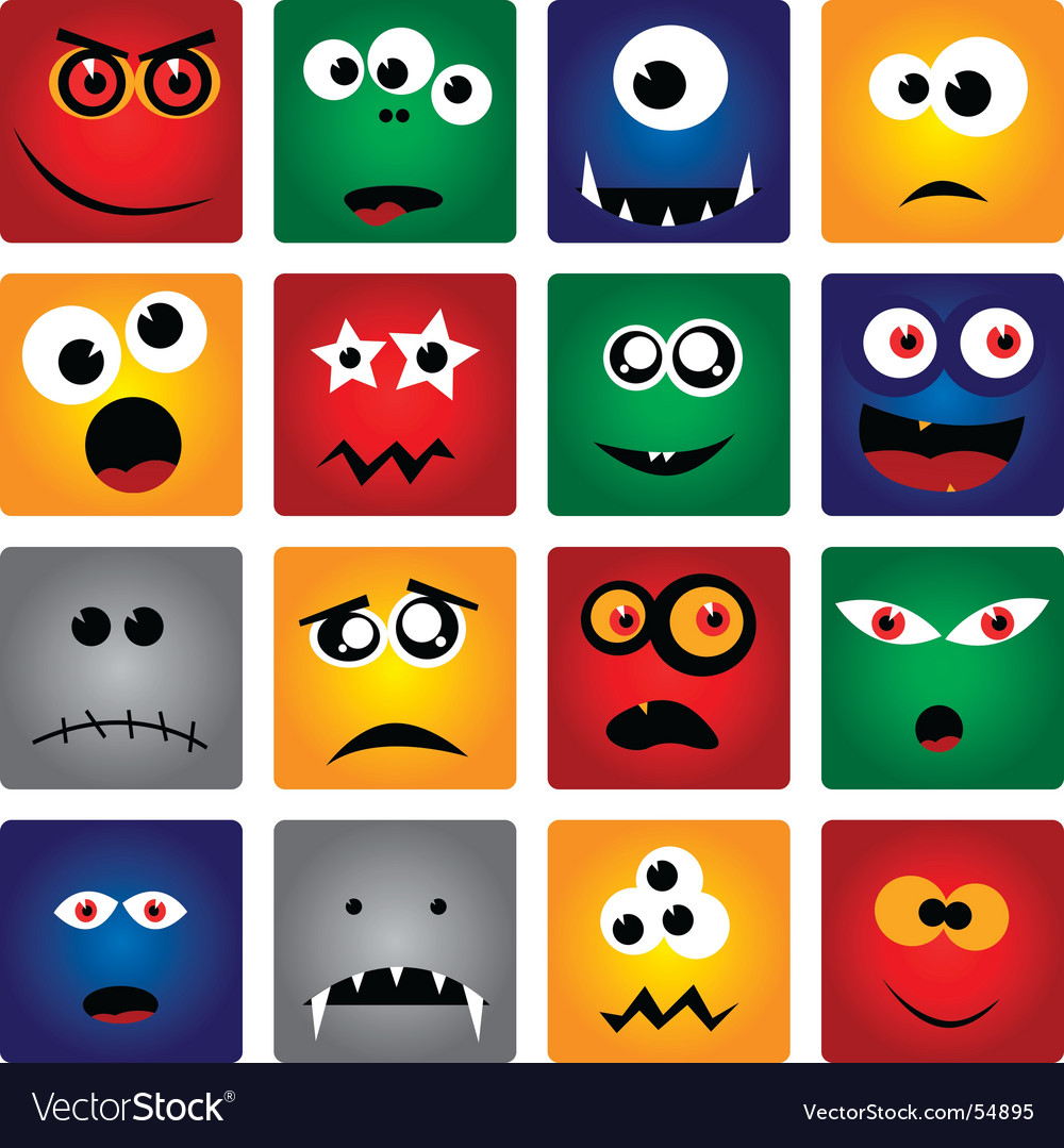 Square monsters vector | Price: 1 Credit (USD $1)