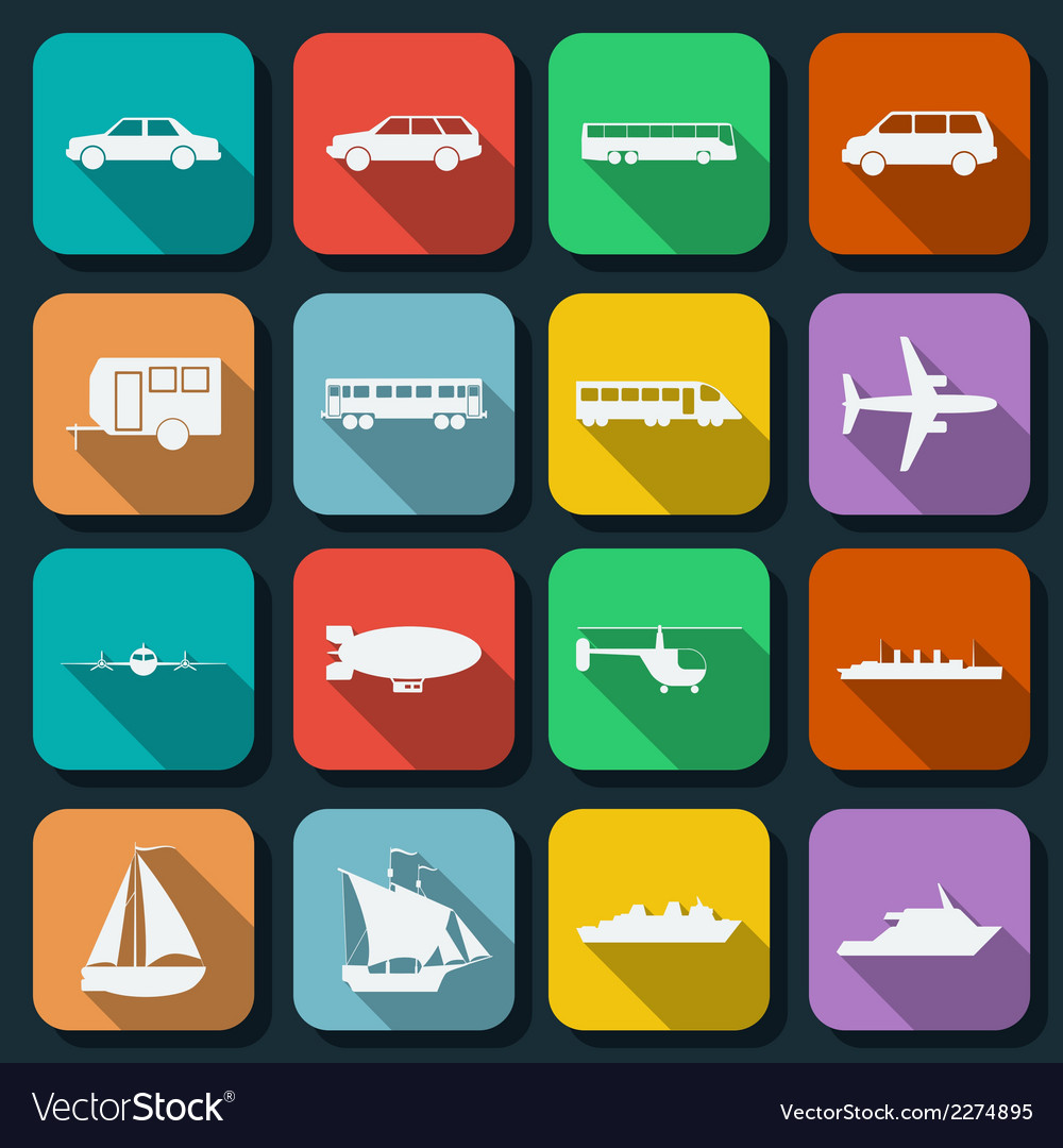 Transportation flat icons vector | Price: 1 Credit (USD $1)