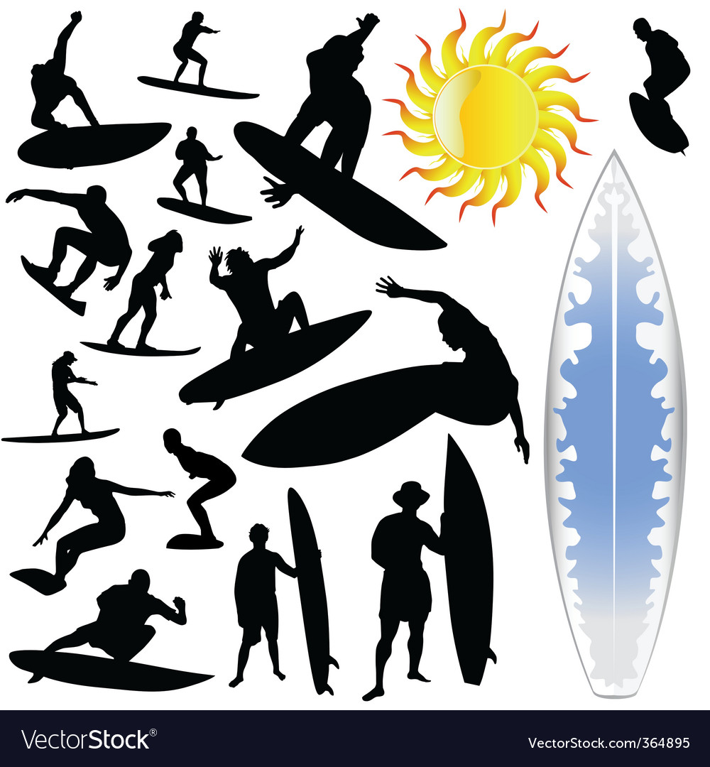 Wave surfing and sun vector | Price: 1 Credit (USD $1)