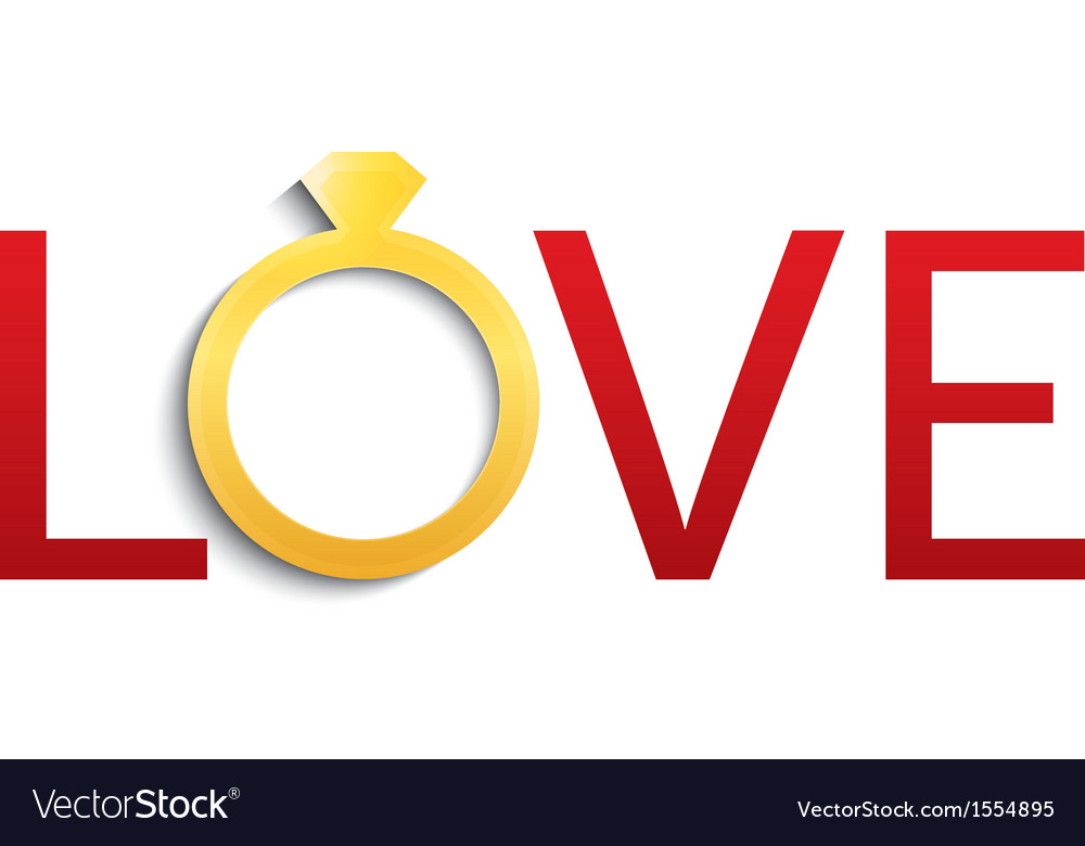 Wedding ring with diamond love with gold ring vector | Price: 1 Credit (USD $1)