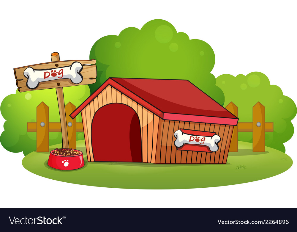 A doghouse at the backyard vector | Price: 1 Credit (USD $1)