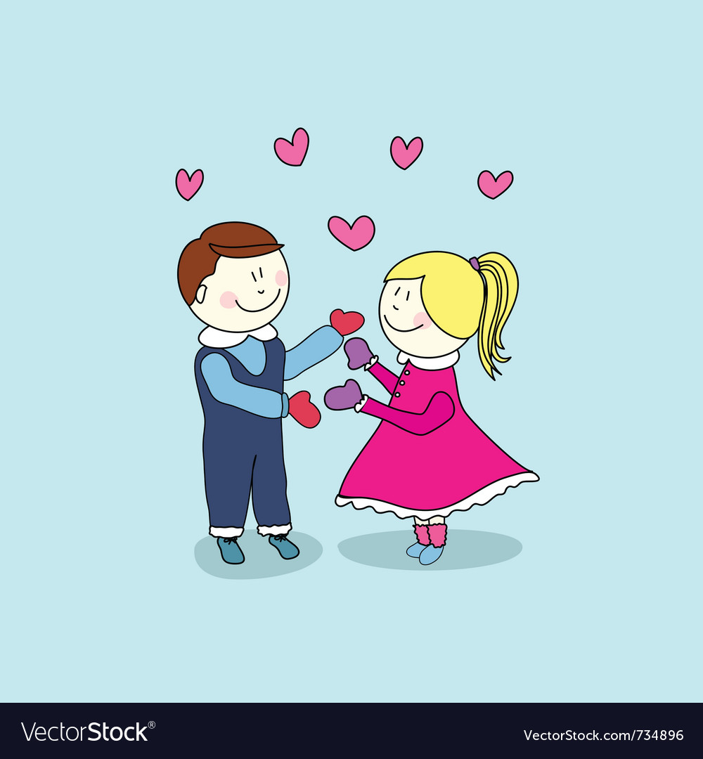Boy and girl happy valentines day vector | Price: 1 Credit (USD $1)