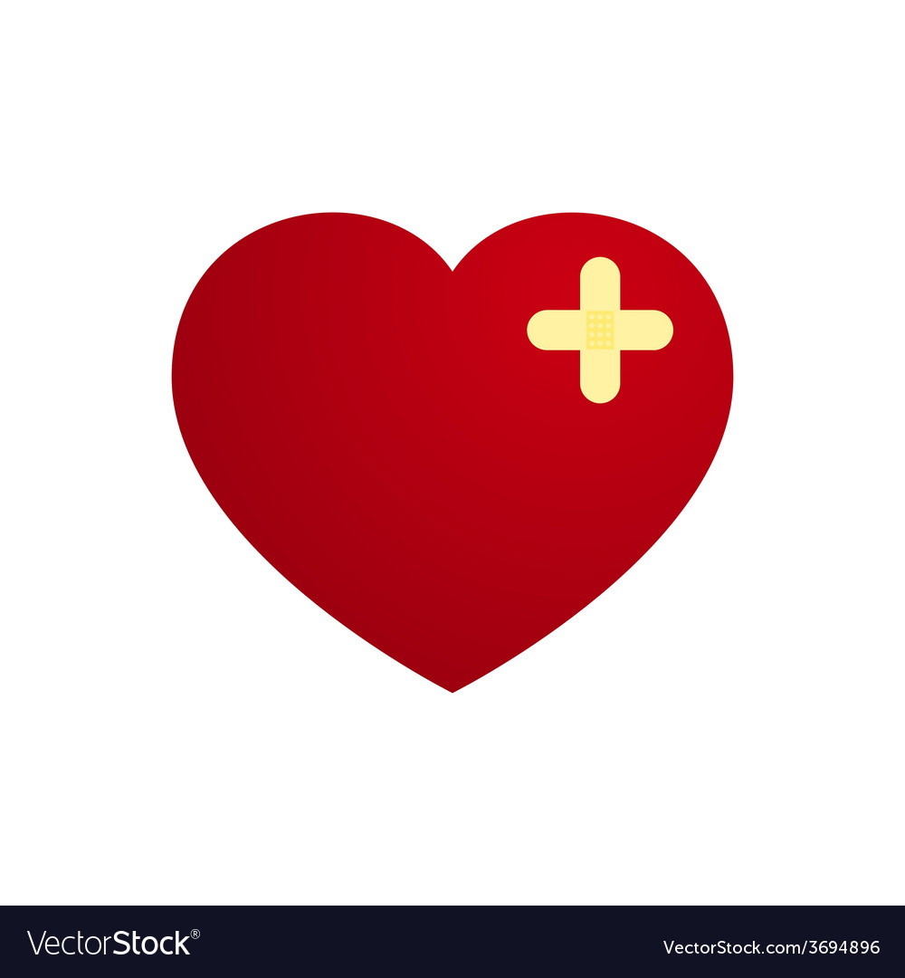Love heart with plaster in cross shape vector | Price: 1 Credit (USD $1)