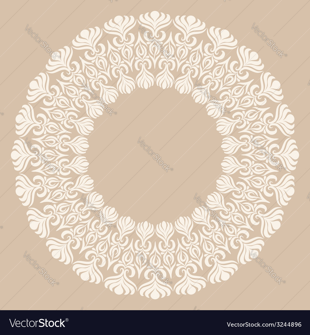 Round white ornament frame on beige background vector | Price: 1 Credit (USD $1)