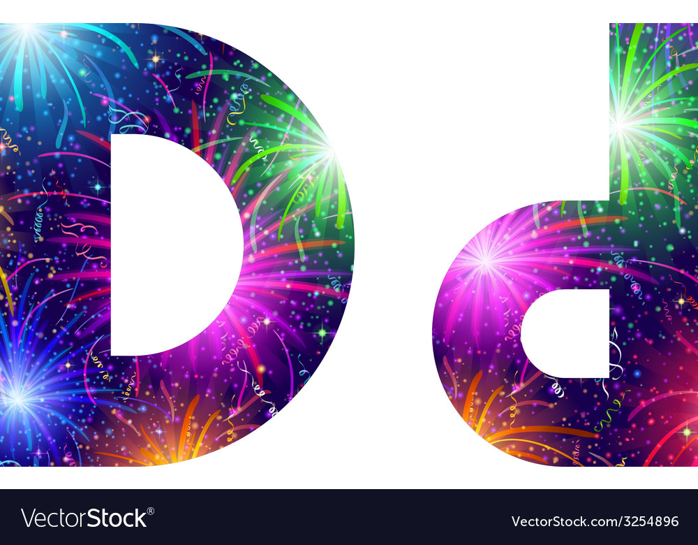 Set of letters firework d vector | Price: 1 Credit (USD $1)