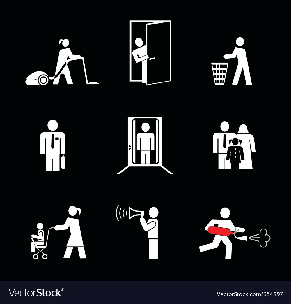 at work vector icons vector | Price: 1 Credit (USD $1)