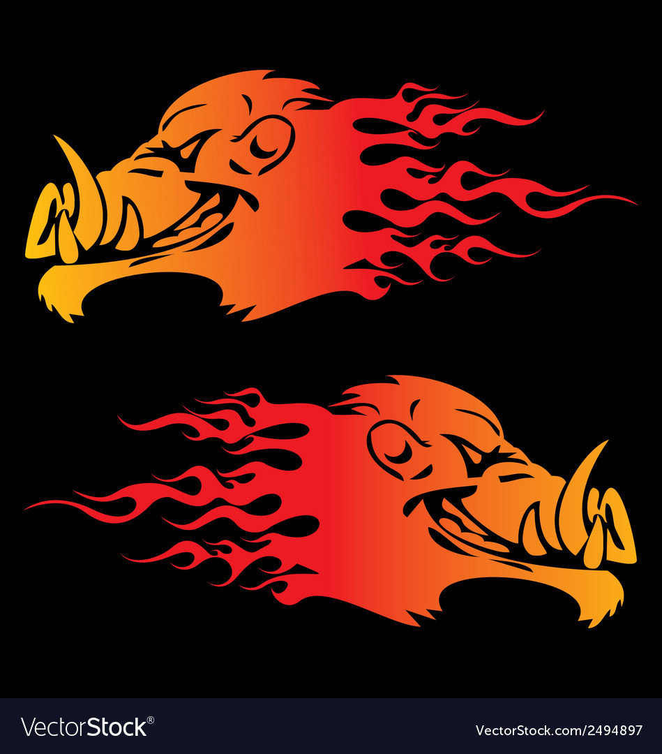 Burning boar head vector | Price: 1 Credit (USD $1)