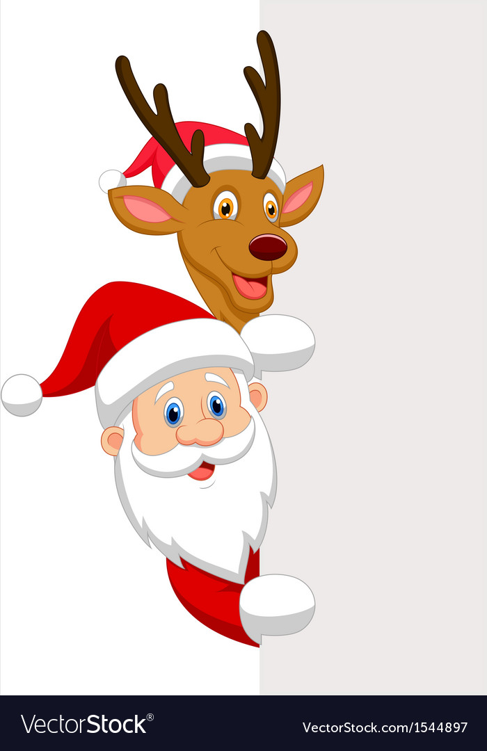 Cartoon santa and red nose reindeer vector | Price: 1 Credit (USD $1)