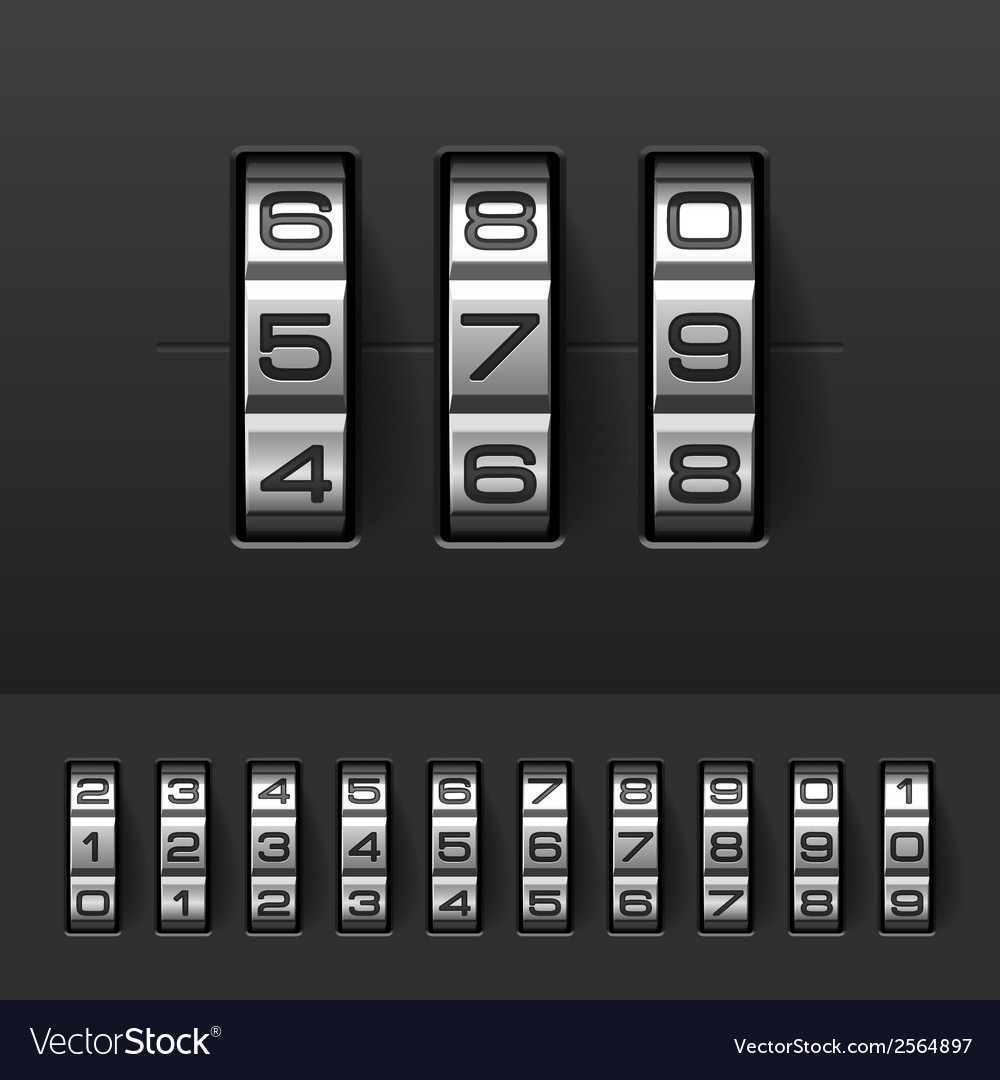 Combination code lock numbers vector | Price: 1 Credit (USD $1)