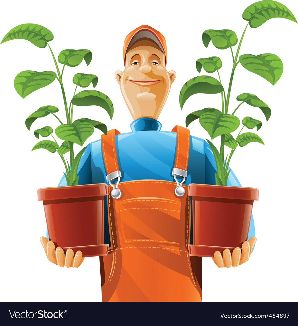 Gardener with flowerpot vector | Price: 5 Credit (USD $5)