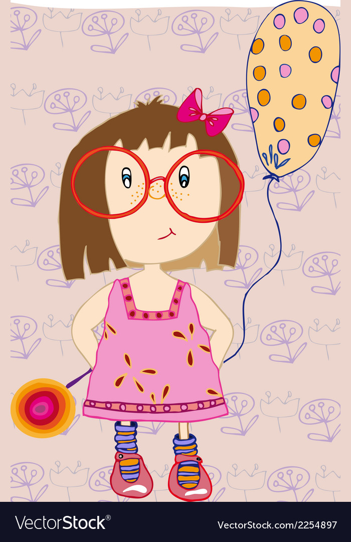 Girl with a balloon vector | Price: 1 Credit (USD $1)