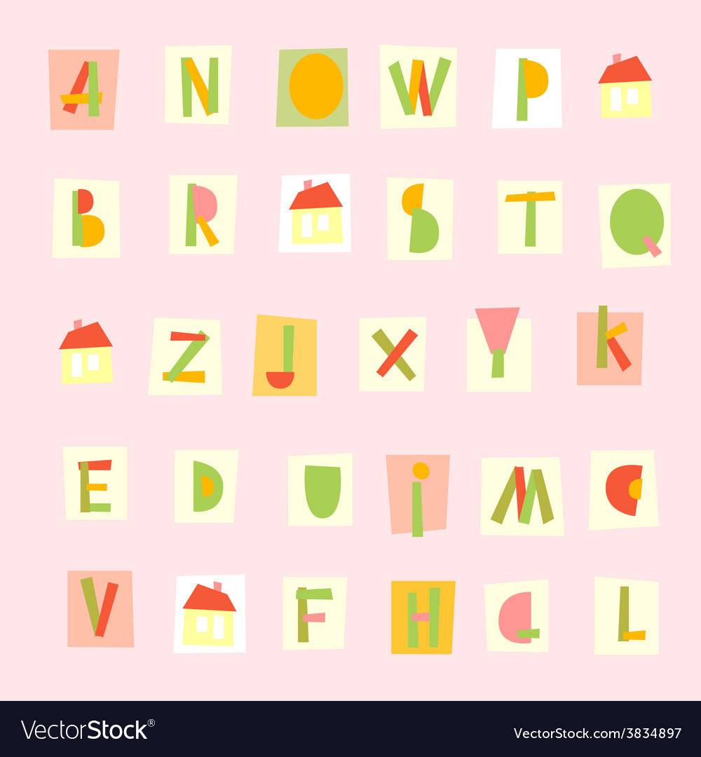 Hand drawn trendy alphabet on pink background vector | Price: 1 Credit (USD $1)
