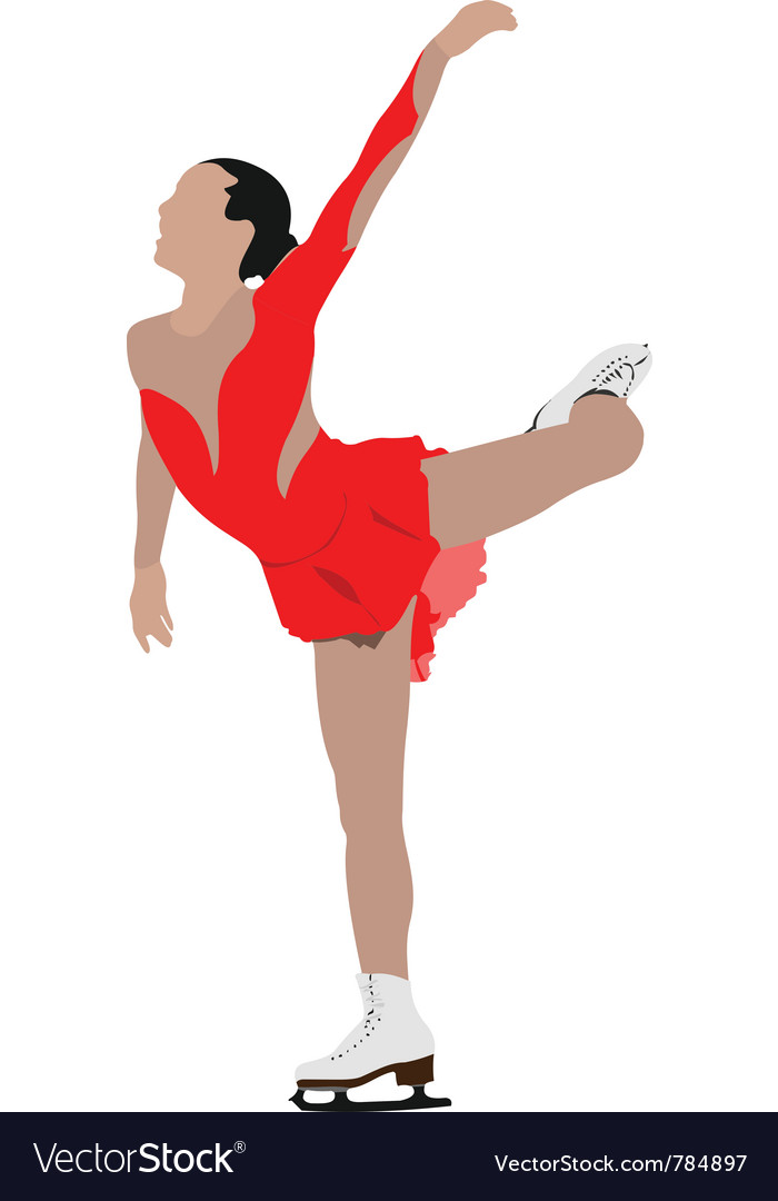 Ice skater silhouette vector | Price: 1 Credit (USD $1)