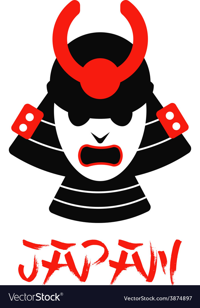 Isolated samurai mask on white vector | Price: 1 Credit (USD $1)