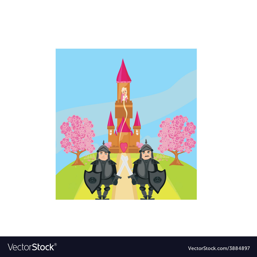 Knights guard the entrance to the castle vector | Price: 1 Credit (USD $1)