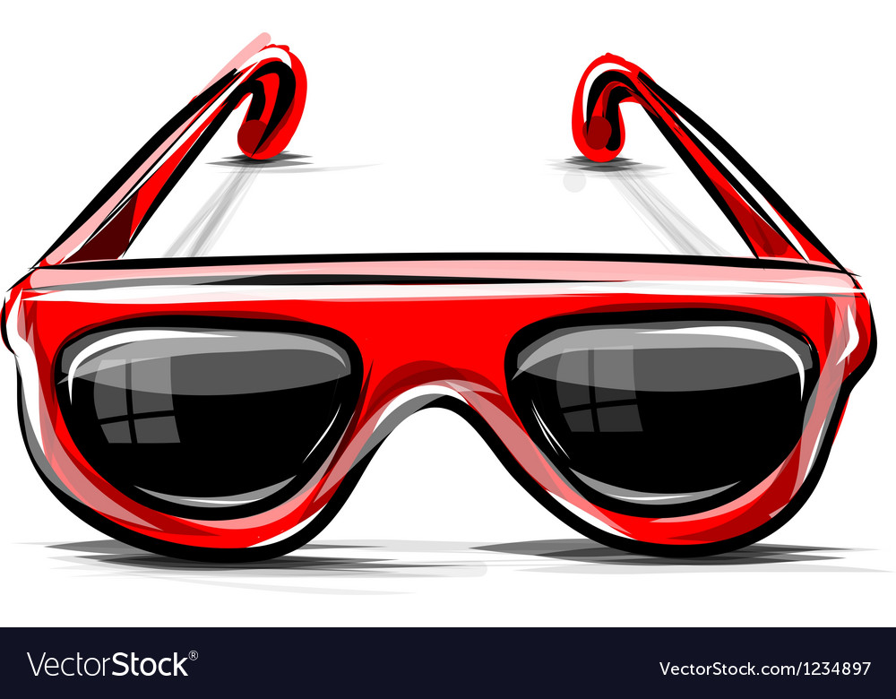 Red sunglasses icon isolated on white vector   Price: 1 Credit (USD $1)