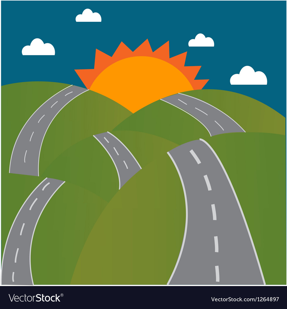 Road to the sun on mountain vector | Price: 1 Credit (USD $1)