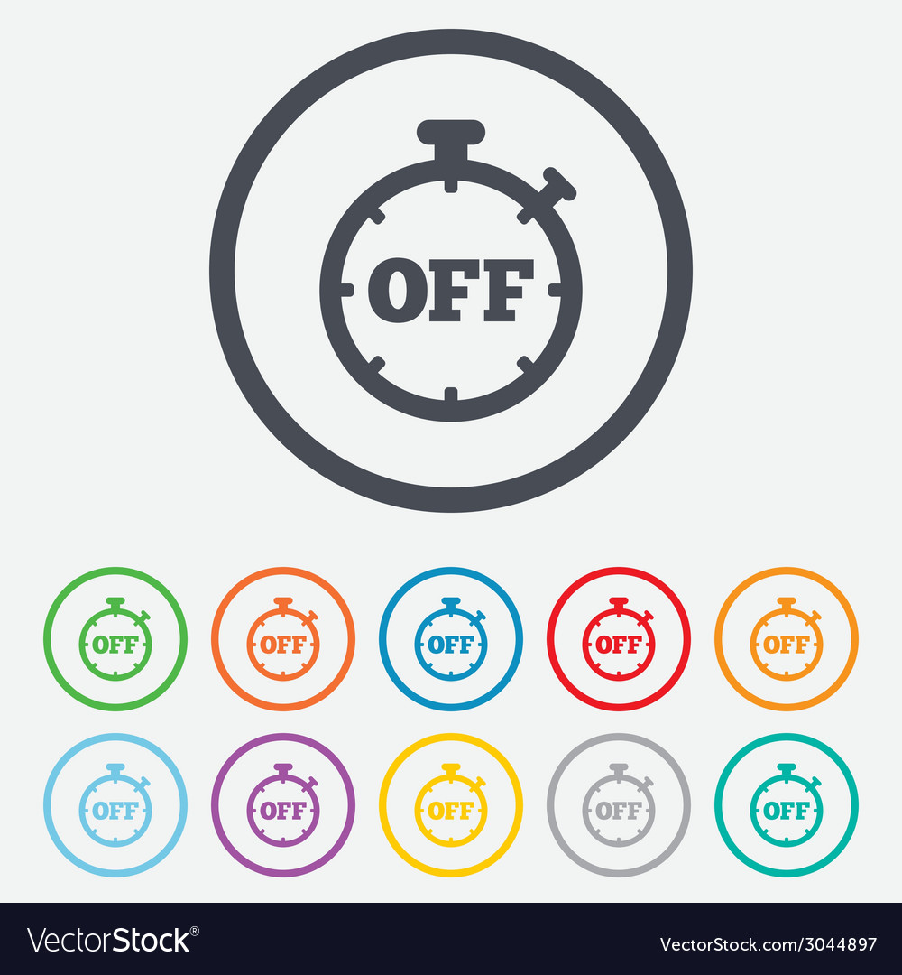 Timer off sign icon stopwatch symbol vector | Price: 1 Credit (USD $1)