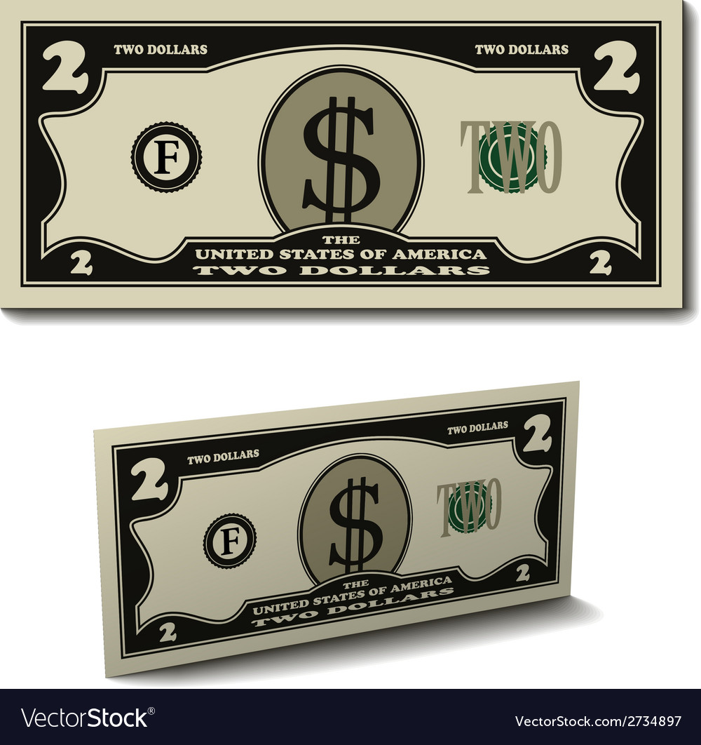 Two dollar paper bill banknote vector | Price: 1 Credit (USD $1)
