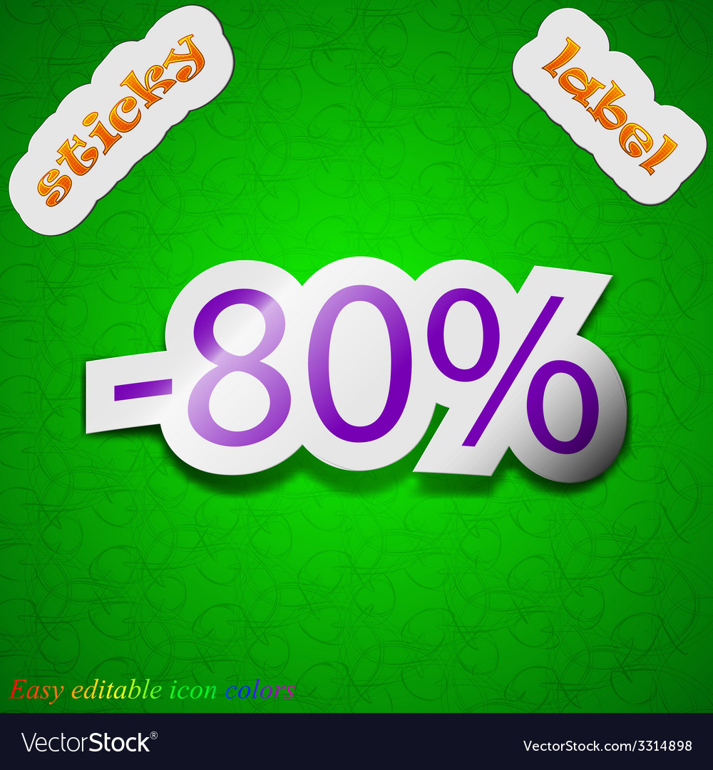80 percent discount icon sign symbol chic colored vector | Price: 1 Credit (USD $1)