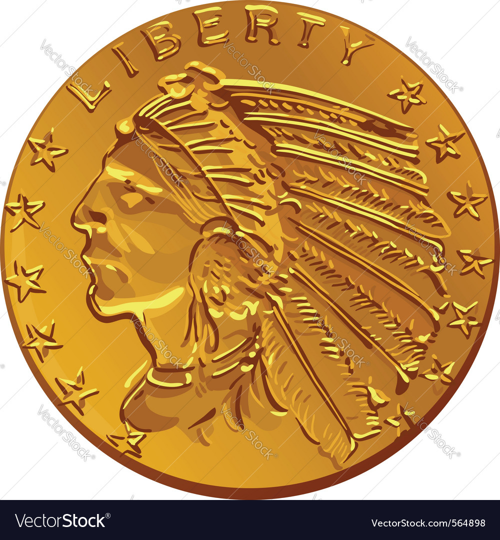 American dollar gold coin vector | Price: 1 Credit (USD $1)