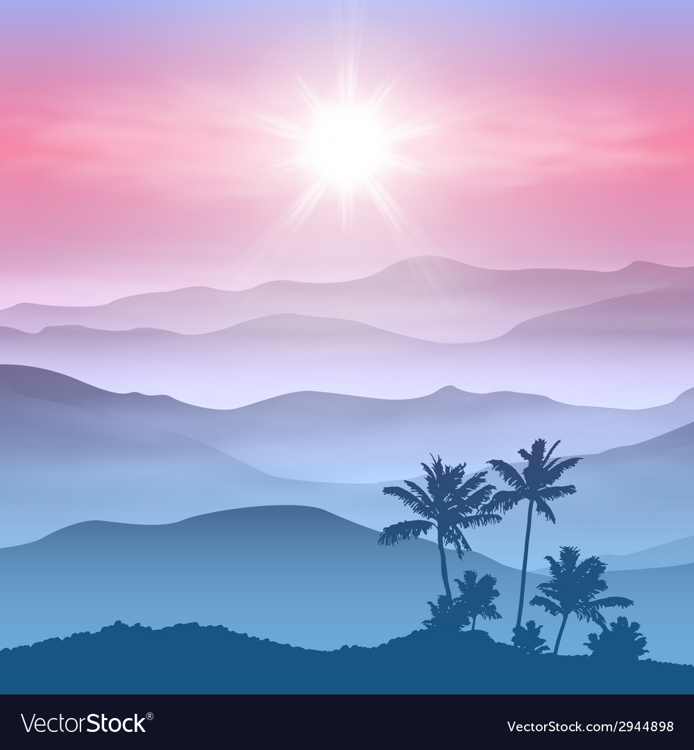 Background with palm tree and mountains in the fog vector | Price: 1 Credit (USD $1)