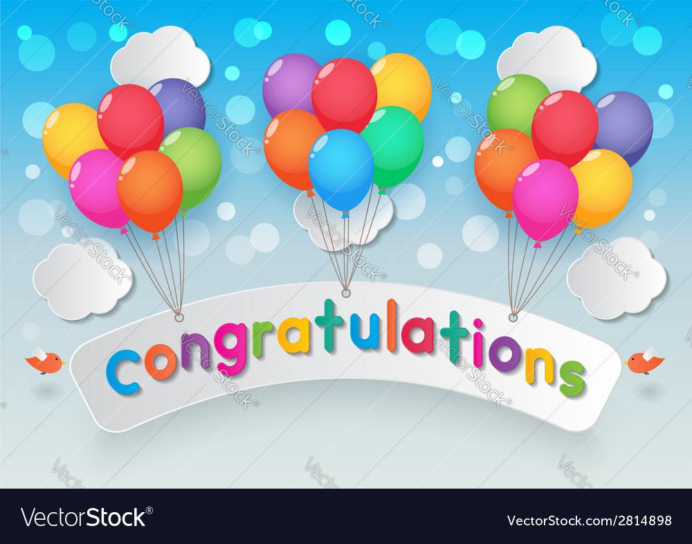 Congratulations balloons sky background vector | Price: 1 Credit (USD $1)