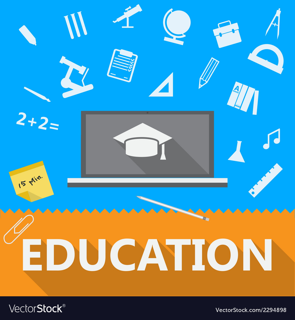 Flat of education vector | Price: 1 Credit (USD $1)