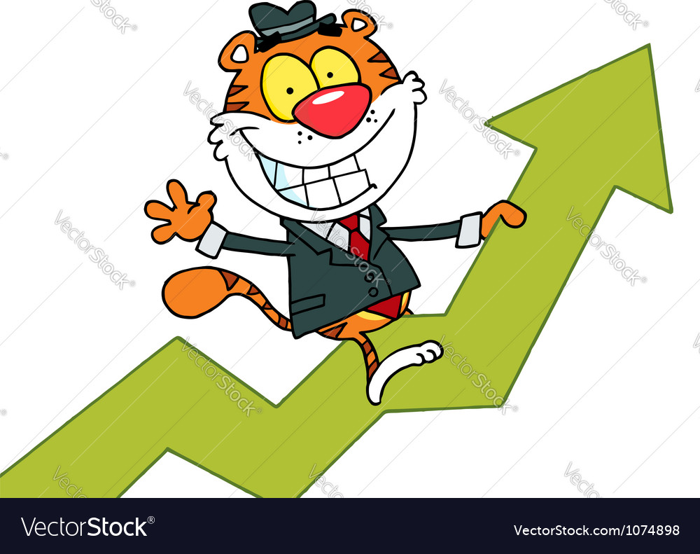 Happy tiger riding on success vector | Price: 1 Credit (USD $1)