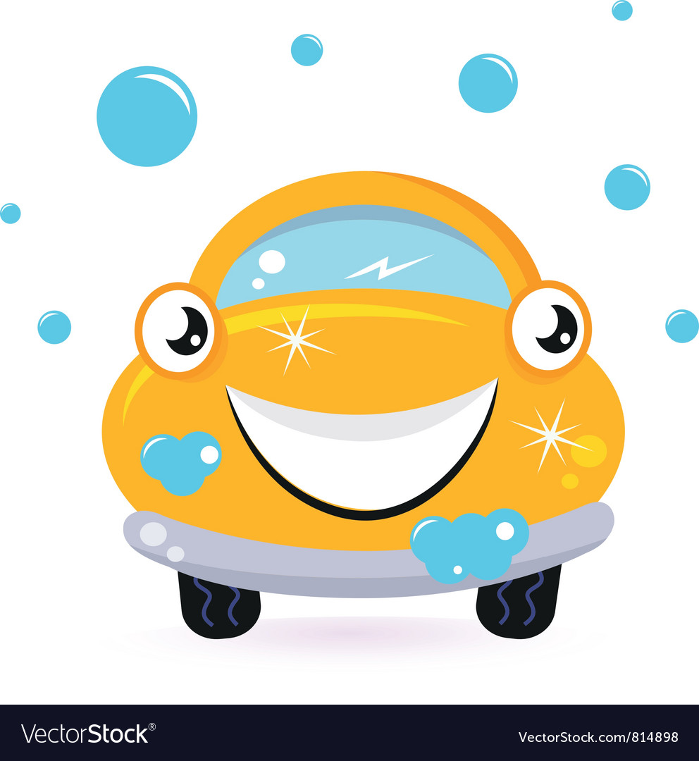 Happy yellow car wash vector | Price: 1 Credit (USD $1)