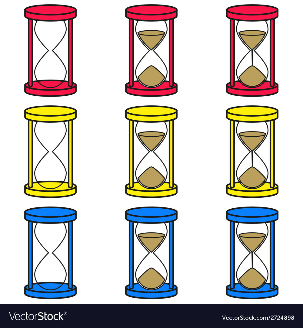 Hourglass icons set in 3 colors vector | Price: 1 Credit (USD $1)