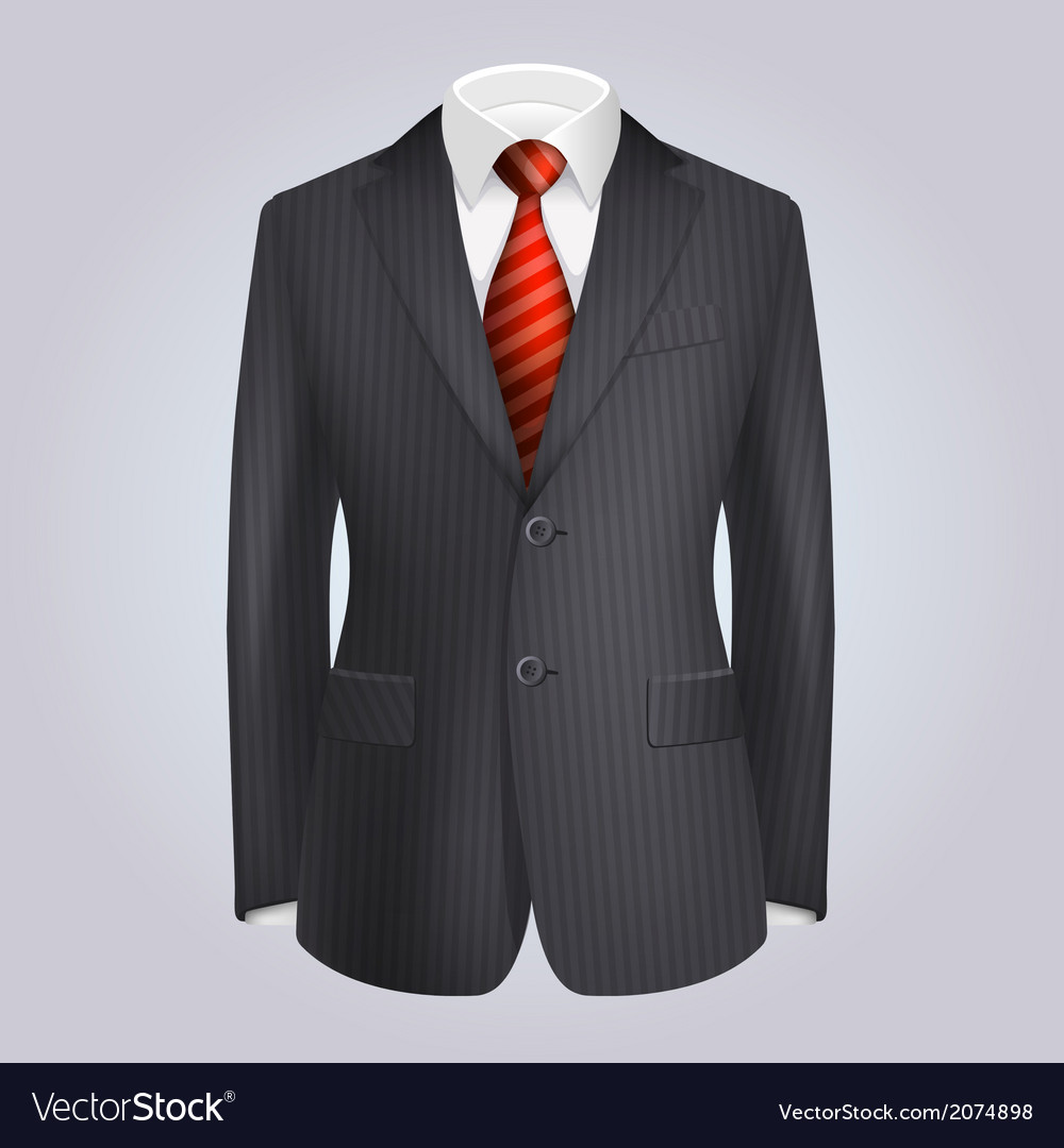 Male clothing dark striped suit with red tie vector | Price: 3 Credit (USD $3)