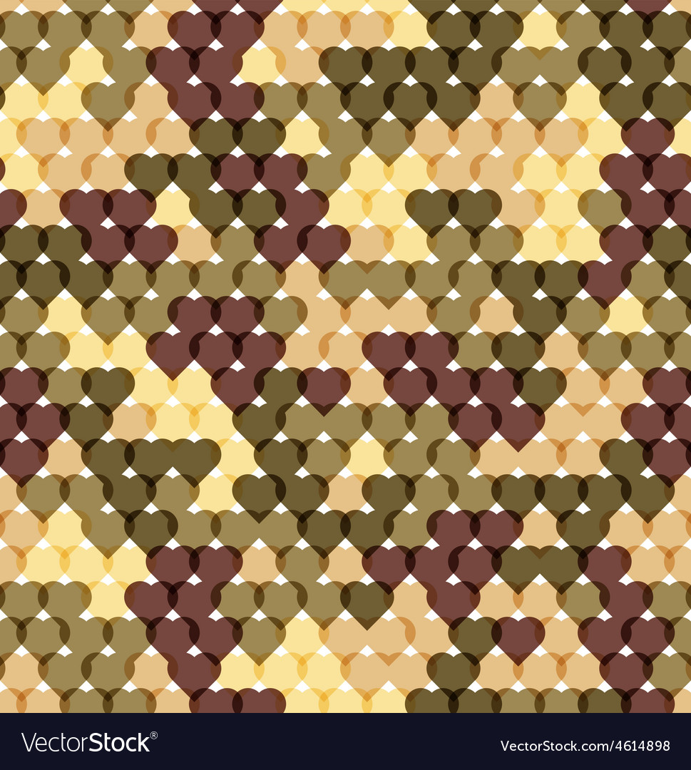 Military romantic seamless pattern of heart khaki vector | Price: 1 Credit (USD $1)