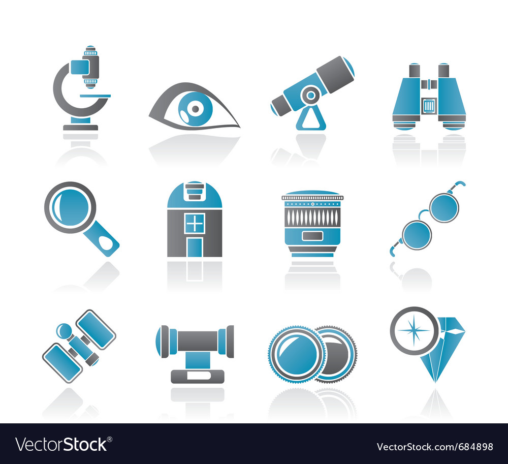 Optic and lens equipment icons vector | Price: 1 Credit (USD $1)