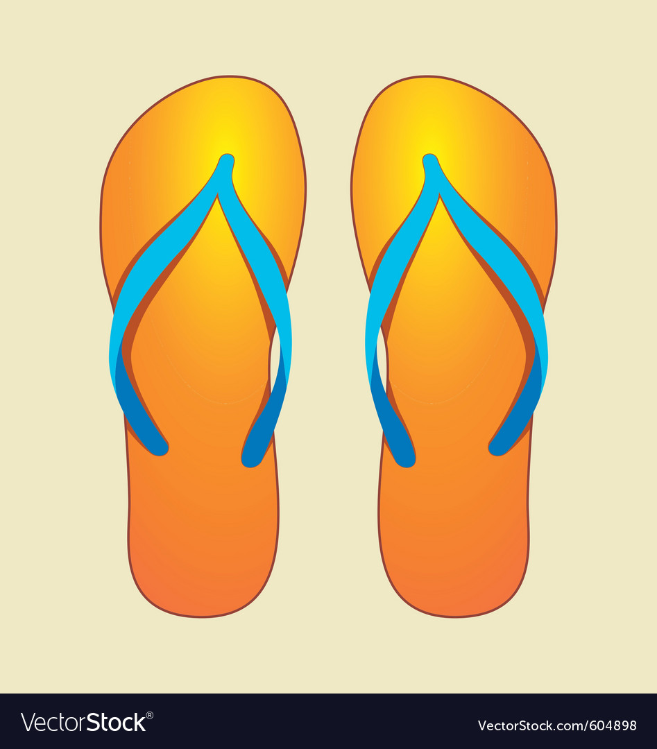 Orange flip-flops vector | Price: 1 Credit (USD $1)